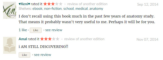 Reader's Reviews on Anatomy at a Glance,source: https://www.goodreads.com/book/show/9787194-anatomy-at-a-glance